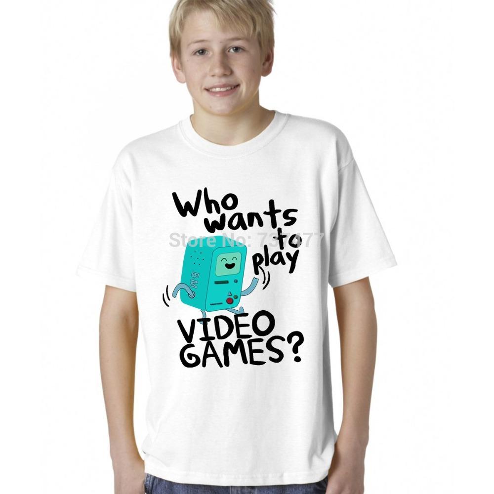 Funny Harajuku Sitcoms Adventure Time T Shirts Kid BMO Who Wants To Play Video Games Tops Boys Clothing Free Shipping(China (Mainland))