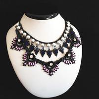 2014 Za Brand New Fashion Layers Stereo Rhonestone Flower Pendant  Statement Necklace Bib Pink Royal Beads Black Collar