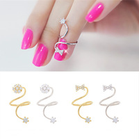 Rhinestone Bow Joint Rings Spiral Adjustable Crystal Finger Ring Jewelry For Women Wholesale 2 style