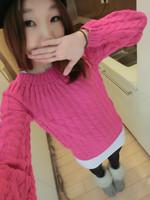 2014    0100  sweater female loose short design winter o-neck twist basic shirt thickening sweater outerwear