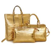 Buy one get two! ! Value! Crocodile Leather Handbag Large Bag Handbag Casual Fashion Gold Shoulder Bags Free Shipping