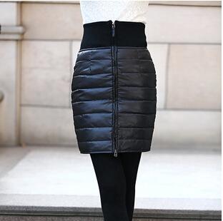 Женщины в зима одежда 100% белый утиный пух юбки черный женщина приталенный тёплый юбки S ----- XXL