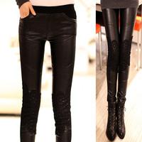 Plus Size S-3XL Women's Leather Lace Leggings black elastic Slim waist leather pants Fashion Free shipping 2015Spring NEW