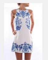 Hot sale women dress 2014 summer new fashion elegant dress sleeveless dress retro print dress femme vestido round Neck dress