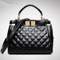 Women Plaid Handbag Peekaboo Mini Tote Women Shoulder Bag Elegant Messenger Bags Women PU Leather Bolsas Hot Crossbody Bag