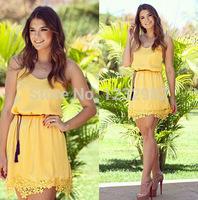 Vestido De Renda Tropical Plus Size Women Clothing Lace Chiffon Dress 2014 Strap Roupas Casual Women Dress Vestidos Femininos