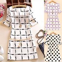 2014 Summer New Korean Edition Cultivate Morality Slim Chiffon dress Black and White Squares Dress Plus size vestidos femininos