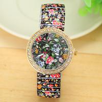 New Fashion ANTIQUE Flower STRETCHABLE WATCH Women Rhinestone Quartz Watch AW-SB-1251