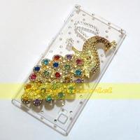 1 Pcs Handmade 3D Bling Pretty Peacock Clear Hard back case For Nokia Lumia 730 735