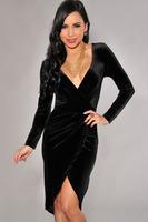 2014 summer Autumn dress New Sexy Black V-Neck Long Sleeve Dresses Velvet Faux Wrap Bodycon Dress LC21669
