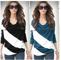 2015autumn and winter NEW HOT Fashion trendy Cozy women ladies Noble clothes Tops Tees T shirt Long-sleeved Unique spell shirt