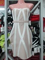 2015 Spring New Arrival European Brand HL Bandage Dress Off The Shoulder Elegant Slim Party Dresses