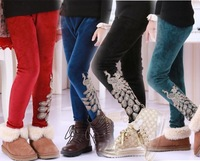 Fashion Winter New Kids Girls villi wool pants ,Children's girl Tight pants Peacock warm trousers