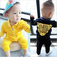 2015 Spring baby boy clothing sets new year Leopard Velve newborn sport suit coat pant 2pcs children bebe clothes roupas meninos