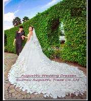 WWL158 New Fashion Elegant A Line Flower Crystal Bridal Gown Wedding Dresses With Long Train vestidos de noiva Custom Made Size