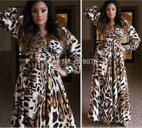 The new autumn and winter 2014 women's fashion v neck long-sleeved dress women leopard chiffon dress casual long dress