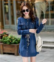 2014 Sale Spring Autumn Women Plus Size Jeans Dress Denim Dress Long-sleeve Loose Casual Discount Dresses Women's Clothing Y025
