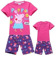 Hot sale 2014  Children's pajamas Peppa Pig cartoon Pajama Sets