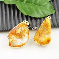 5pcs Druzy Quartz Geode Charm Pendant 24k Gold plated Edge Coating Orange Jewelry Finding