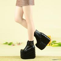 2014 Temperament girl's 16cm ultra high heels queen boots flat platform shoes big-head shoes female cosplay boots catwalk boots