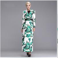 TOP QUALITY Brand Elegant Extra Long Dress Coat Lady Winter Fashion Print Double Breasted Plus Size XXXL Overcoat Windbreaker