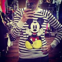 autumn and winter long sleeve o ncek mickey cartoon print 100% cotton women warm sweatshirt  base t shirt   women tops