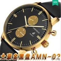 New arriving authentic leather waterproof sapphire luminous wrist watch quartz watch business casual men's watch