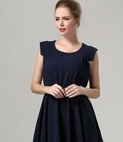 2015 New fashion higth quality temparement women soild sleeveless O neck tank chiffon work casual dress 2color plus size L-5XL