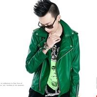 2014 men's casual zipper Slim lapel badges popular youth green leather jacket coat outerwear