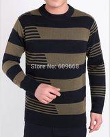 new fashion men's autumn / winter cashmere wool pullover round collar striped thick sweater green orange  S-XXL 750