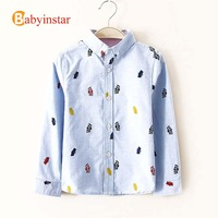 Boys Long Sleeve Shirt Bat Printed Pure Cotton:roupas meninos Brand Baby Boy Clothes Kids Polo Shirts Boys Children Clothing