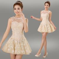 2014 Sweet transparent gauze embroidered flower Round collar bridesmaid formal dress short design