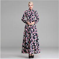 HIGH QUALITY Europe Elegant Maxi Long Dress 2014 Winter Women's Vintage Print Plus Size 3XL Long Sleeve A-Line Full Length Dress