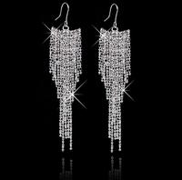 New Luxury Wedding Bridal Statement Drop Silver Gold Earrings 3 Colors Crystal Tassel Earring For Women Long Dangle Jewelry