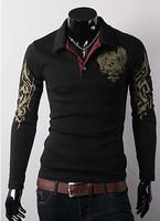 2014 Autumn Winter Fashion New T Shirt Men Long Sleeve Printed Eagle Slim Fit T-shirt Men's Casual Brand Top Tees JMY24