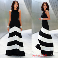 New Designer Fashion Sleeveless Sexy Backless White Black Patchwork Long Maxi Cocktail Dresses for Women to Party Wear  WZA879