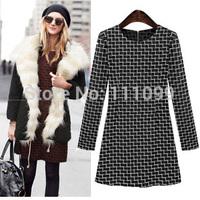 Free Shipping casual vestidos femininos 2014 fashion long sleeve o-neck warm cotton blends plaid women autumn winter dress hot