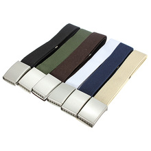 NEW Cotton Canvas Metal Buckle Belt Waist Waistband Cintos Men Women Unisex Boys Girls Plain Webbing Accessories