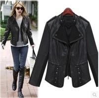 Fashion 2014 women's long-sleeve slim turn-down collar motorcycle short design PU clothing