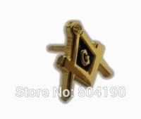 Masonic Gold Tone Square and Compass Film TV Emblem Metal Lapel Pin Brooch Hat Badge Cool Biker retro emo punk rockabilly