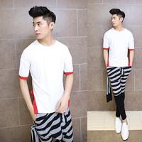 2014 new men's fashion personality Night T-shirt man patchwork short sleeve t shirt