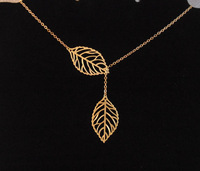Valentine Day Gift gold leaf necklace , leave weddding bridemaid Lariat