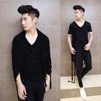 2014 new men's short-sleeve t -shirt men Korean shawl t-shirt