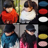 2015 Autumn  Winter Children Candy Color Woolen Yarn Tassel Scarf Shawl Ring Kids Warmer Solid Color  Fashion  Wraps