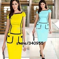 Women Dresses Hot Sale Square Collar Patchwork With Button Pencil Cocktail Party Bodycon Dresses Size S M L XL XXL