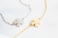 Wholesale 10pcs/lot-2015 Gold/Silver Minimalist Jewelry Wedding Gift Clover Statement Stainless Steel Bracelet