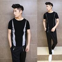 2014 summer new mens Korean Slim zipper patchwork short sleeve T-shirt
