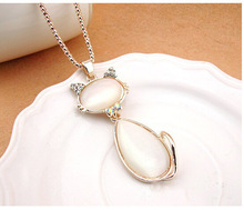 2015 Spring Fashion Jewelry cat pendant necklace opal sweater necklace for women with shine rhinestone Dropshipping
