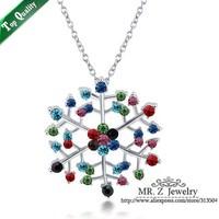 Christmas Gift Colorful Rhinestone Snowflake Necklace Fashion Brand Jewelry 10pcs/lot Free Shipping