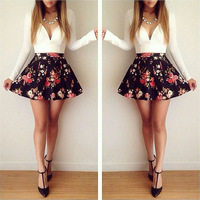 2014 new women fashion floral winter dress deep V neck casual patchwork slim fit mini short dress sexy party dresses a71